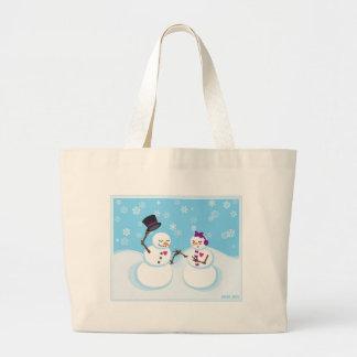 Grand Tote Bag Bonhomme de neige et Snowgirl Romance