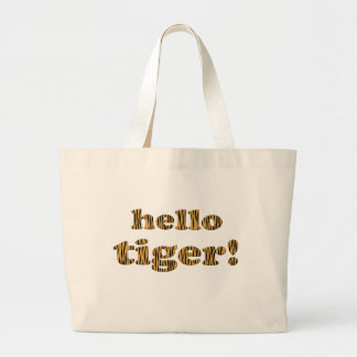 Grand Tote Bag Bonjour tigre ! Citation Tigerprint Fourre-tout