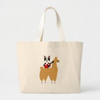 Grand Tote Bag Boston frais Terrier montant un lama
