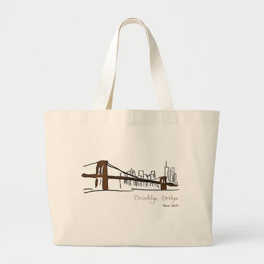 Grand Tote Bag Brooklyn bridge New york illustration au trait