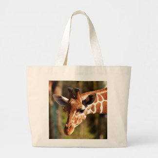 Grand Tote Bag Brown mignon et portrait blanc de visage de girafe
