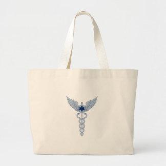 Grand Tote Bag Caducée avec l'icône d'étoile des ailes EMT de