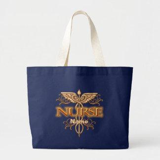 Grand Tote Bag Caducée de cuivre de fantaisie d'infirmière