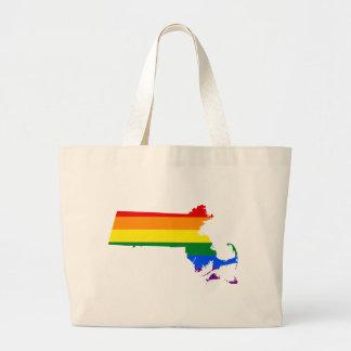 Grand Tote Bag Carte de drapeau du Massachusetts LGBT