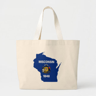 Grand Tote Bag Carte de drapeau du Wisconsin