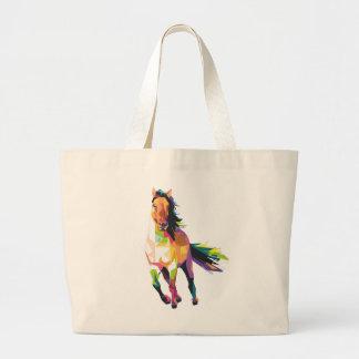 Grand Tote Bag Cavalier courant coloré d'étalon de cheval