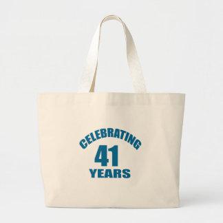 Grand Tote Bag Célébrant 41 ans de conceptions d'anniversaire