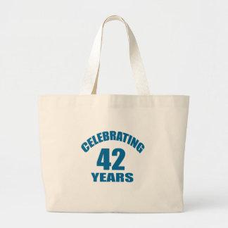 Grand Tote Bag Célébrant 42 ans de conceptions d'anniversaire