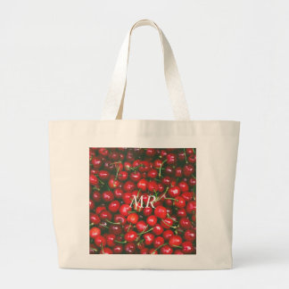 Grand Tote Bag Cerise rouge - je t'aime (texte personnalisable)