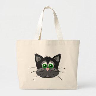 Grand Tote Bag Chat noir aux yeux verts