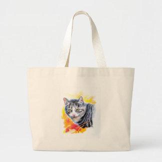 Grand Tote Bag Chat rayé gris