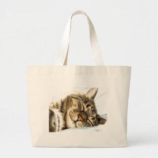 Grand Tote Bag Chat tigré de sommeil