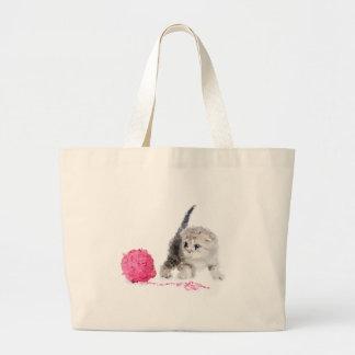 Grand Tote Bag Chaton drôle adorable Low Poly mignon