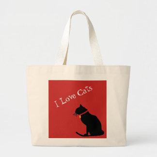 Grand Tote Bag Chats d'amour de l'éléphant I rouges et
