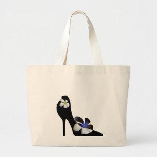 Grand Tote Bag Chaussures à talons hauts élégantes noires.
