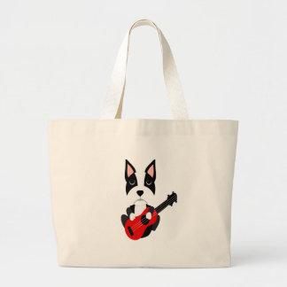Grand Tote Bag Chien de Boston Terrier d'amusement jouant la