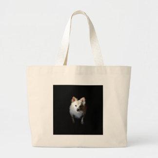 Grand Tote Bag Chien de Pomeranian dans l'obscurité