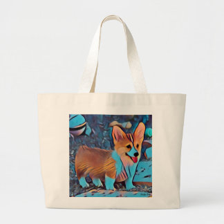 Grand Tote Bag Chiot coloré de corgi