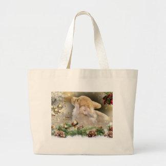 Grand Tote Bag Chiot de corgi de Noël
