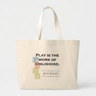 Grand Tote Bag Citation de Piaget - le jeu est le travail de
