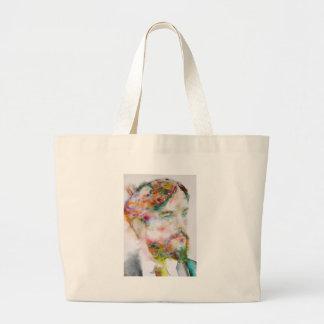 Grand Tote Bag Claude debussy - portrait d'aquarelle