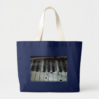Grand Tote Bag Clés de piano et notes de musique