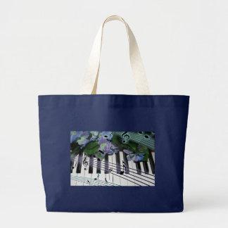 Grand Tote Bag Clés et fleurs de piano
