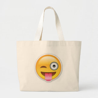 Grand Tote Bag Clin d'oeil souriant effronté d'emoji