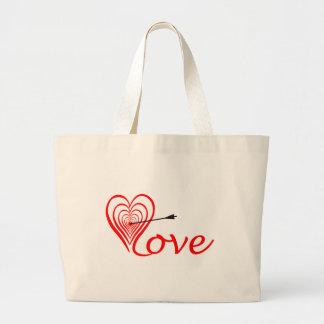 Grand Tote Bag Coeur amour Dartscheibe avec la flèche