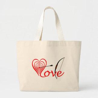 Grand Tote Bag Coeur amour Dartscheibe avec la flèche et le coude