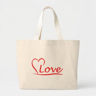 Grand Tote Bag Coeur avec des amours