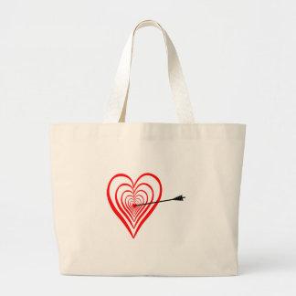 Grand Tote Bag Coeur Dartscheibe avec la flèche