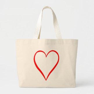 Grand Tote Bag Coeur peint sur l'arrière-plan blanc