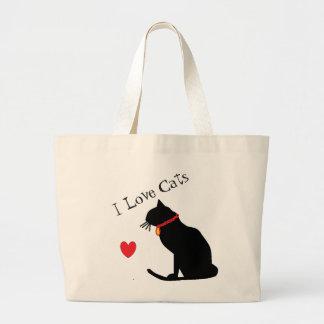 Grand Tote Bag Coeur rouge de chats d'amour de l'éléphant I et