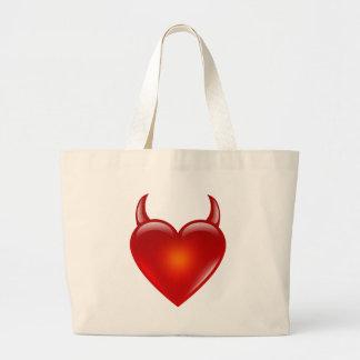 Grand Tote Bag Coeur vilain de diable avec des klaxons