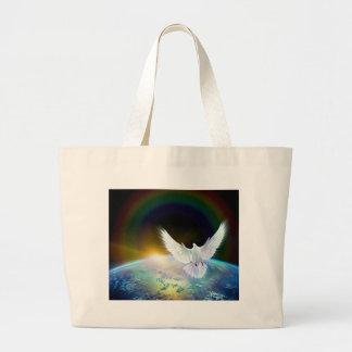 Grand Tote Bag Colombe de Saint-Esprit de paix au-dessus de la