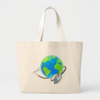 Grand Tote Bag Concept de santé de globe du monde de la terre de