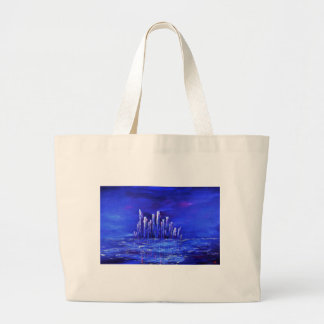 Grand Tote Bag Conception bleue urbaine de Jane Howarth