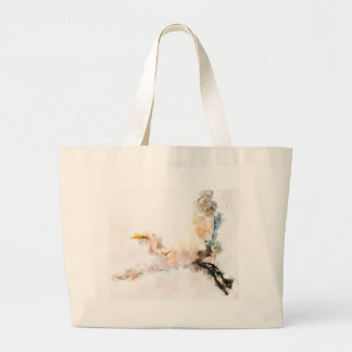Grand Tote Bag Conception d'aquarelle, vol d'oiseau de grue