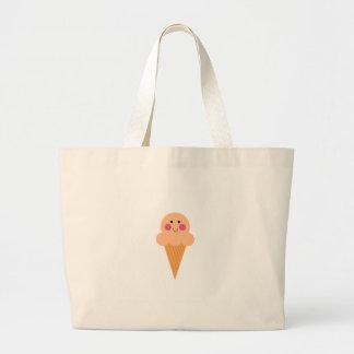 Grand Tote Bag Conception de crème glacée sur le blanc