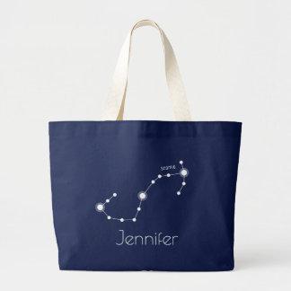 Grand Tote Bag Constellation personnalisée de zodiaque de