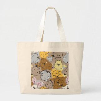 Grand Tote Bag Corrections de couleur avec le motif animal de