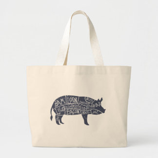 Grand Tote Bag Coupes de porc américaines, cru typographique
