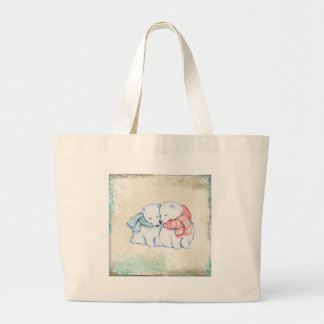 Grand Tote Bag Couples d'ours blancs