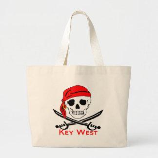 Grand Tote Bag Crâne Key West de pirate