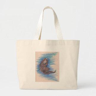 Grand Tote Bag Créature d'animal sauvage de loutre de mer petite
