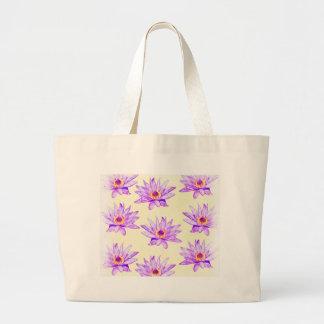 Grand Tote Bag crème de fleurs de lotus noire d'encre