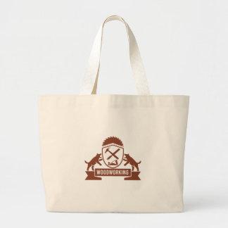 Grand Tote Bag Crête de travail du bois de diable tasmanien rétro
