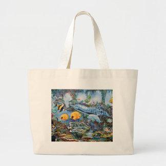 Grand Tote Bag Dauphin coloré et poissons tropicaux