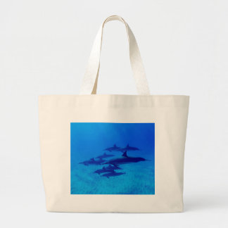 Grand Tote Bag Dauphins nageant en mer bleue